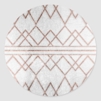 Chic Modern Faux Rose Gold Geometric Triangles Round Sticker