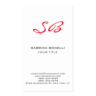Chic Red Monogram White Cute Business Card