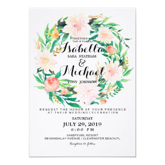 Chic Watercolor Floral Wreath Wedding Invitation6 13 Cm X 18 Cm Invitation Card