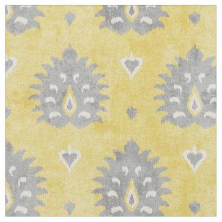 Chic yellow and grey damask ikat tribal pattern fabric