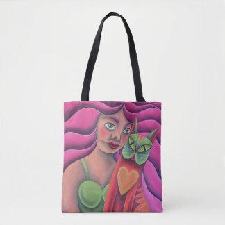 Chica y su gato verde pintura óleo arte tote bag