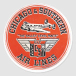 Chicago & Southern Air Lines logo Round Sticker