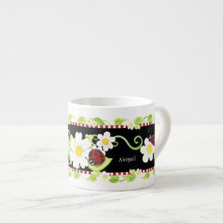 Child Size Teacup for Tea Parties, Ladybug flower Espresso Mug