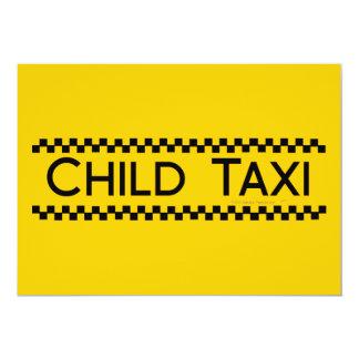 Child Taxi Funny Design for Driving Fathers/Moms 13 Cm X 18 Cm Invitation Card