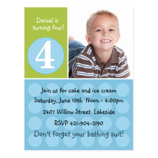 Childs Birthday Party Invitation Postcard