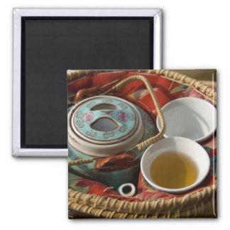 China, Hong Kong. Traditional Chinese teapot & 3 Square Magnet