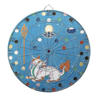 Chinese Dragon Colorful Dots Vintage Watercolor Dart Board