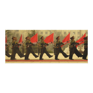 Chinese Military Honor Guard in Column Stretched Canvas Prints