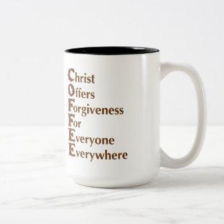 """""""Christ Offers Forgiveness For Everyone"""" Mug"""
