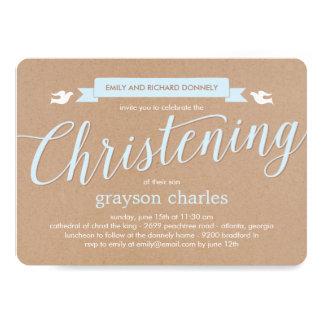 Christening Banner Baptism Invitation - Blue