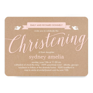 Christening Banner Baptism Invitation - Pink