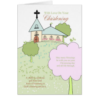 christening greeting card with little church scene