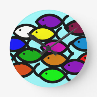 Christian Fish Symbols - Rainbow School - Wall Clock