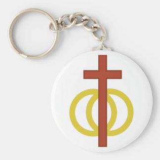 Christian Marriage Symbol Basic Round Button Key Ring