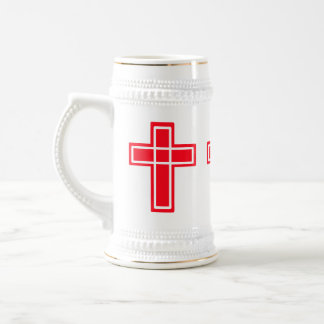 Christian red and white cross stein beer steins