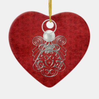 Christmas Angel of Peace on Red Textured Chenille Ceramic Heart Decoration