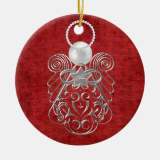 Christmas Angel of Peace on Red Textured Chenille Round Ceramic Decoration