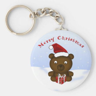 Christmas Bear in a Santa Hat Keychain/Keyring Basic Round Button Key Ring