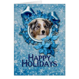 Christmas - Blue Snowflake - Australian Shepherd Greeting Card