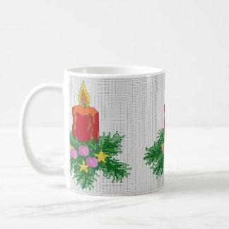 Christmas Candle Cross Stitch Basic White Mug
