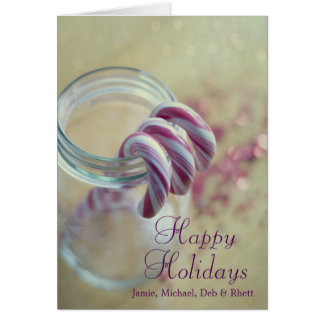 Christmas candy canes in glass jar greeting card