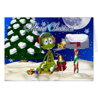 Christmas Card With Alien At A Mailbox