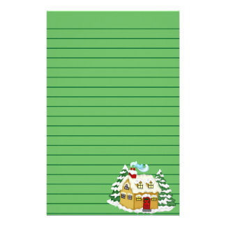 Christmas Cottage Graphic, Lined Stationery Paper