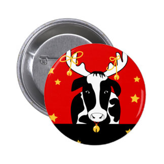 Christmas Cow Pin Back Button