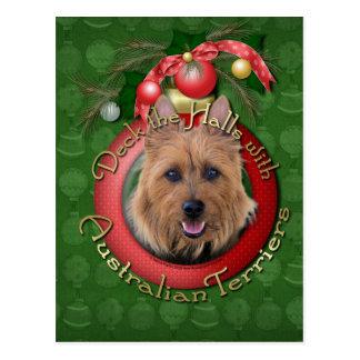 Christmas - Deck the Halls - Australian Terriers Postcard