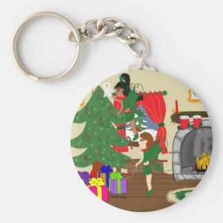 Christmas Fairies Trimming the Tree Keychain