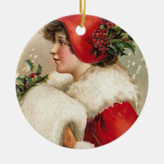 Christmas Girl Vintage Illustration Round Ceramic Decoration