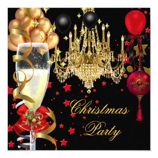 Christmas Holiday Champagne Party Red Gold Black 4 13 Cm X 13 Cm Square Invitation Card