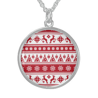 Christmas Holiday Nordic Pattern Cozy Round Pendant Necklace