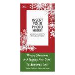 Christmas Holiday Snowflake - Red Custom Photo Card