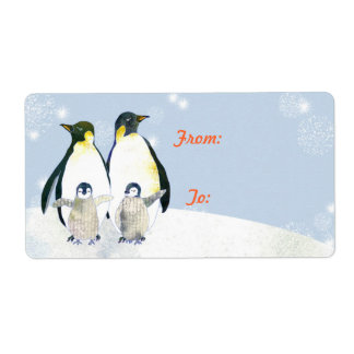 Christmas JOY Cute Penguins Holiday Gift Tag Shipping Label