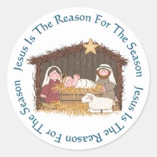 Christmas Manger / Jesus Reason Round Sticker