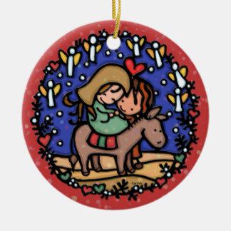 Christmas Mary Joseph Angels Rejoice RED Round Ceramic Decoration