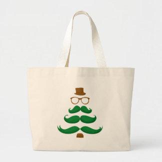 Christmas Mustache Tree Jumbo Tote Bag