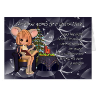 Christmas Niece, night before Christmas mouse Greeting Card