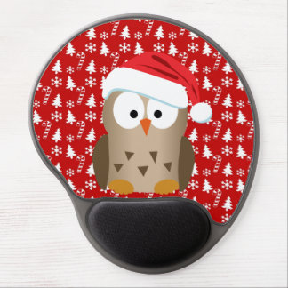 Christmas Owl with Santa Hat Gel Mouse Pad