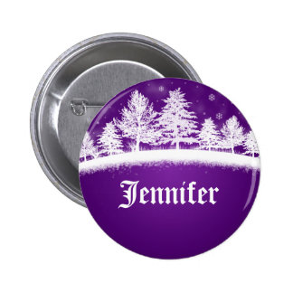 Christmas Party Name Tags Purple Buttons