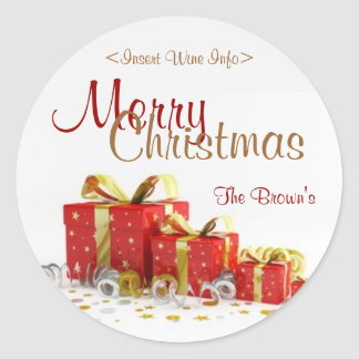 Christmas Present Customized Wine Label Round Sticker