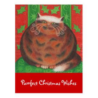 Christmas Pud 'Purrfect Christmas Wishes' postcard