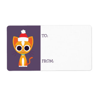 Christmas Purrl the Cat Shipping Label