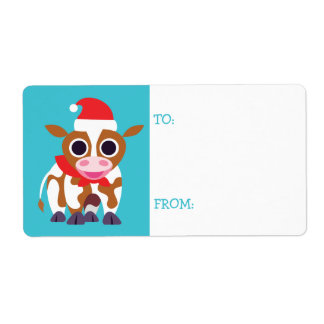 Christmas Reba the Cow Shipping Label