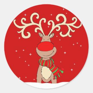 Christmas reindeer red round sticker