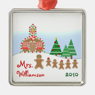 Christmas Schoolhouse Scene - Gingerbread Teacher Silver-Colored Square Decoration