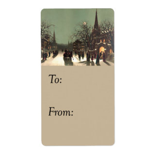 Christmas Services Vintage Gift Tag Shipping Label