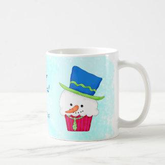 Christmas Snowman Cupcake Name Personalized Basic White Mug