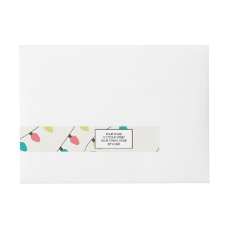 Christmas String of Lights Pattern Wraparound Address Label